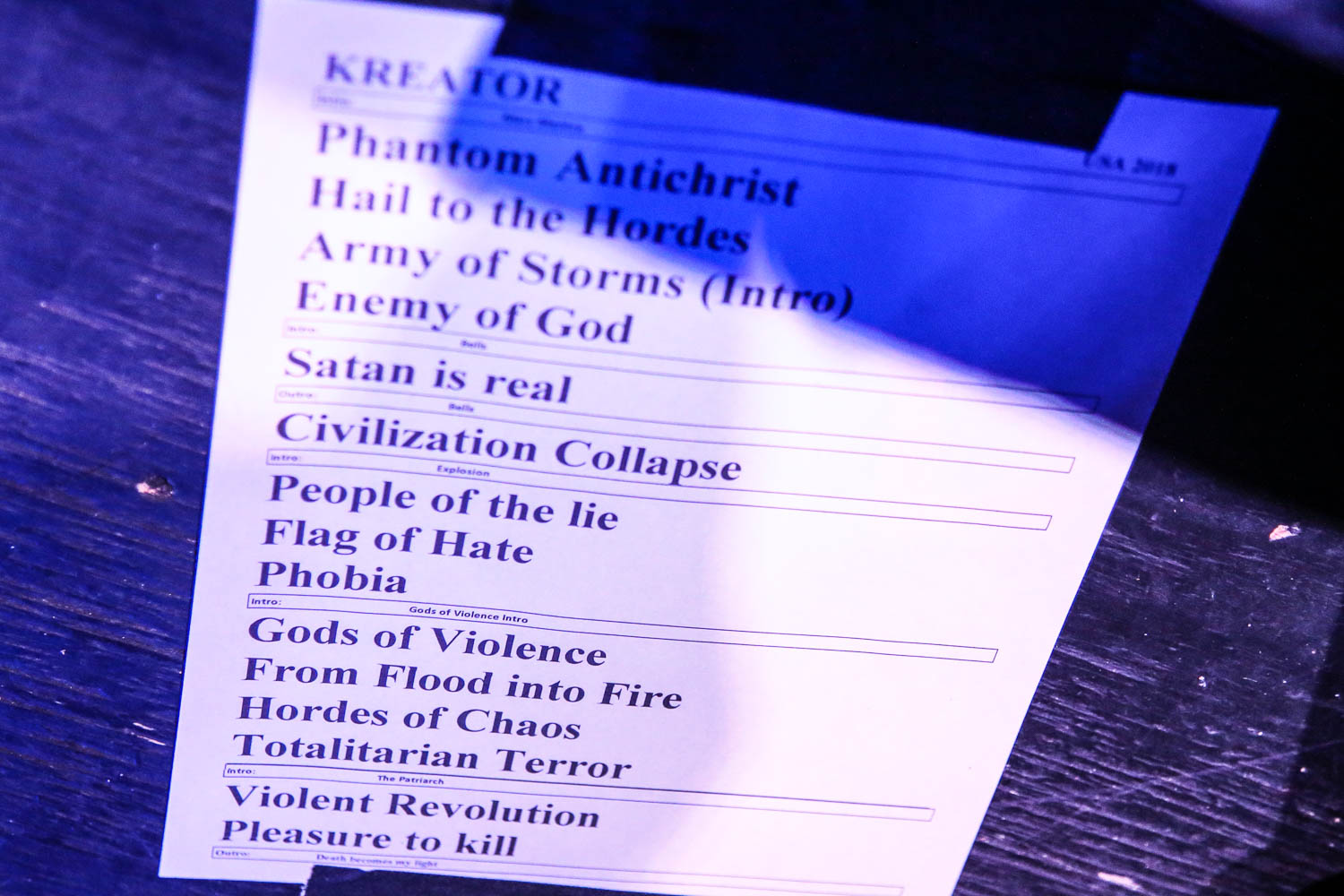 Kreator's setlist for their show at The Truman on February