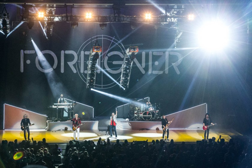 Foreigner performing at Starlight Theatre in Kansas City, Missouri on July 17, 2018