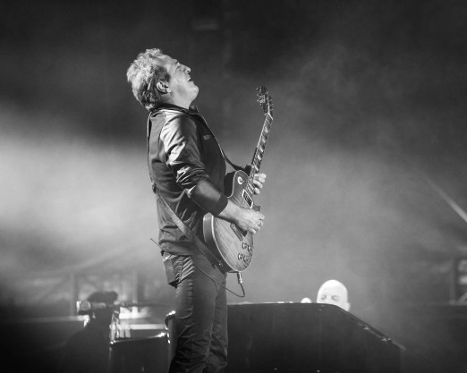 Tommy Byrnes, Billy Joel's guitarist performing at Kauffman Stadium in Kansas City, Missouri on Friday, September 21, 2018.