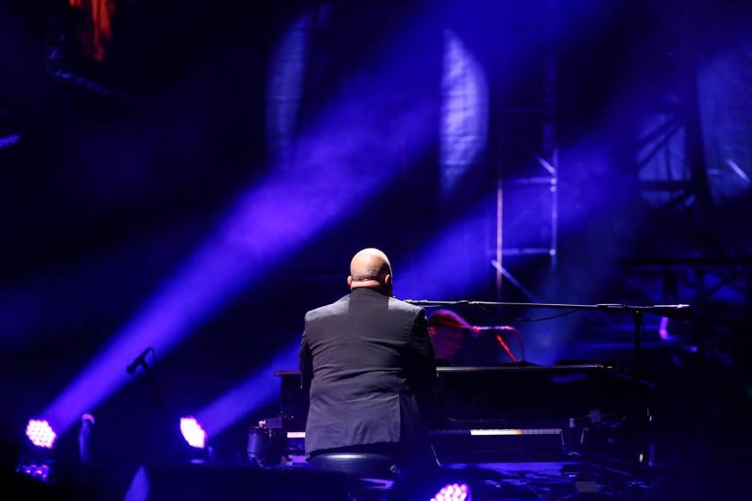 Billy Joel performing at Kauffman Stadium in Kansas City, Missouri on Friday, September 21, 2018.