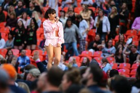 Charli XCX performing at Taylor Swift's Reputation Tour concert at Arrowhead Stadium on September 8, 2018