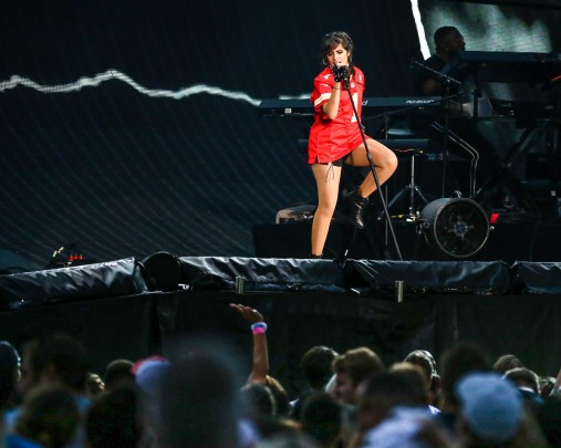 Camila Cabello performing at Taylor Swift's Reputation Tour concert at Arrowhead Stadium on September 8, 2018