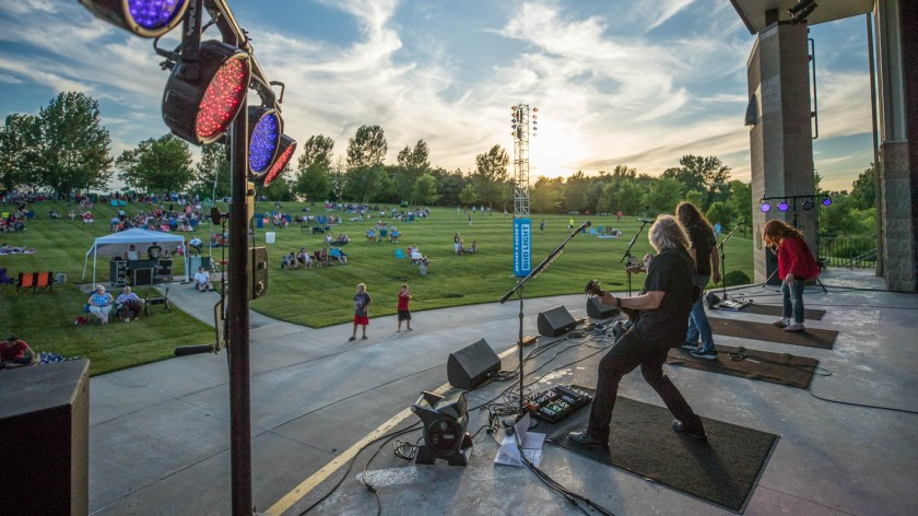 The band Switch performing during the annual Kearney Fireworks Celebration at the Kearney Amphitheater on July 3, 2019.