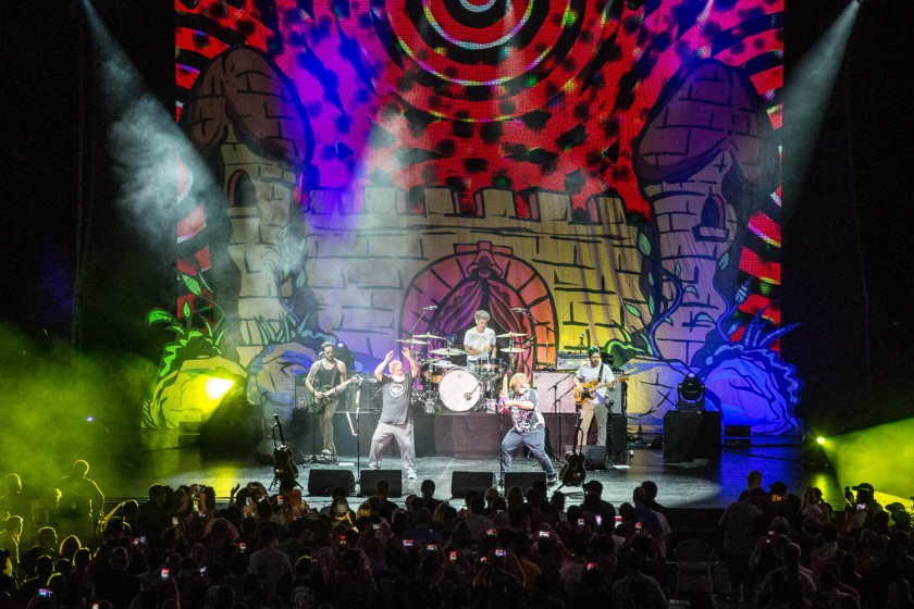 Tenacious D performing at Starlight Theatre in Kansas City, Missouri on July 27, 2019