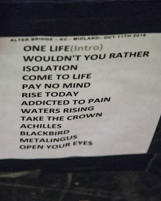Alter Bridge setlist for Kansas City, Missouri on October 11, 2019
