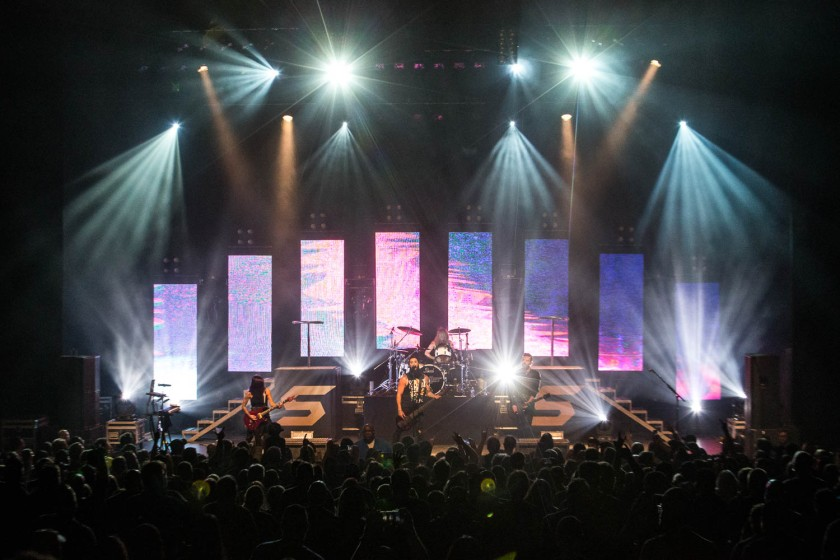 Skillet performing at the Arvest Bank Theatre at The Midland in Kansas City, Missouri on October 11, 2019