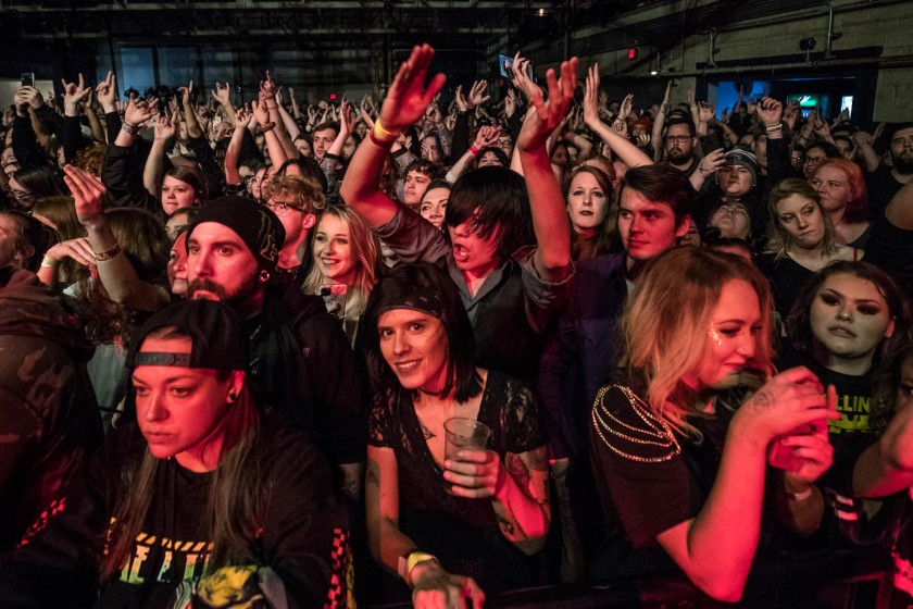 Fans enjoying the Escape the Fate performance