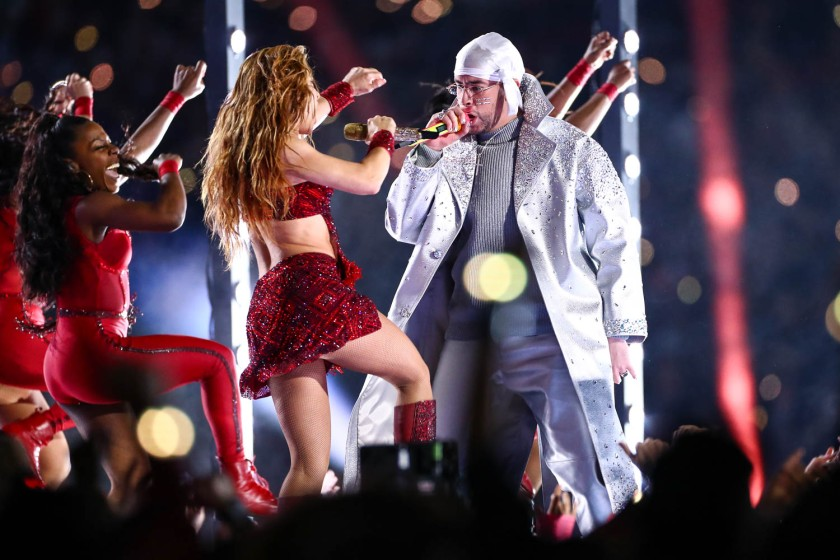 Shakira and Bad Bunny during the Super Bowl LIV halftime show