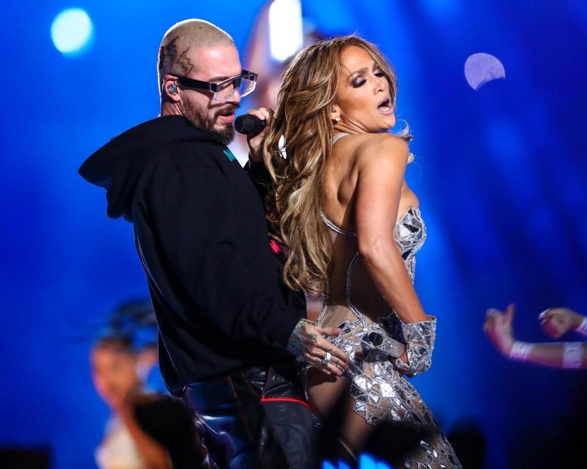 J Balvin and Jennifer Lopez during the Super Bowl LIV halftime show