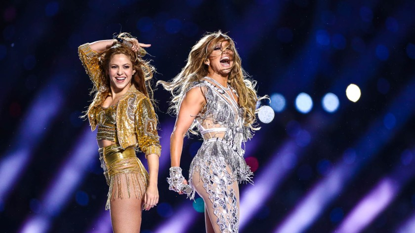 Shakira and Jennifer Lopez during the Super Bowl LIV halftime show