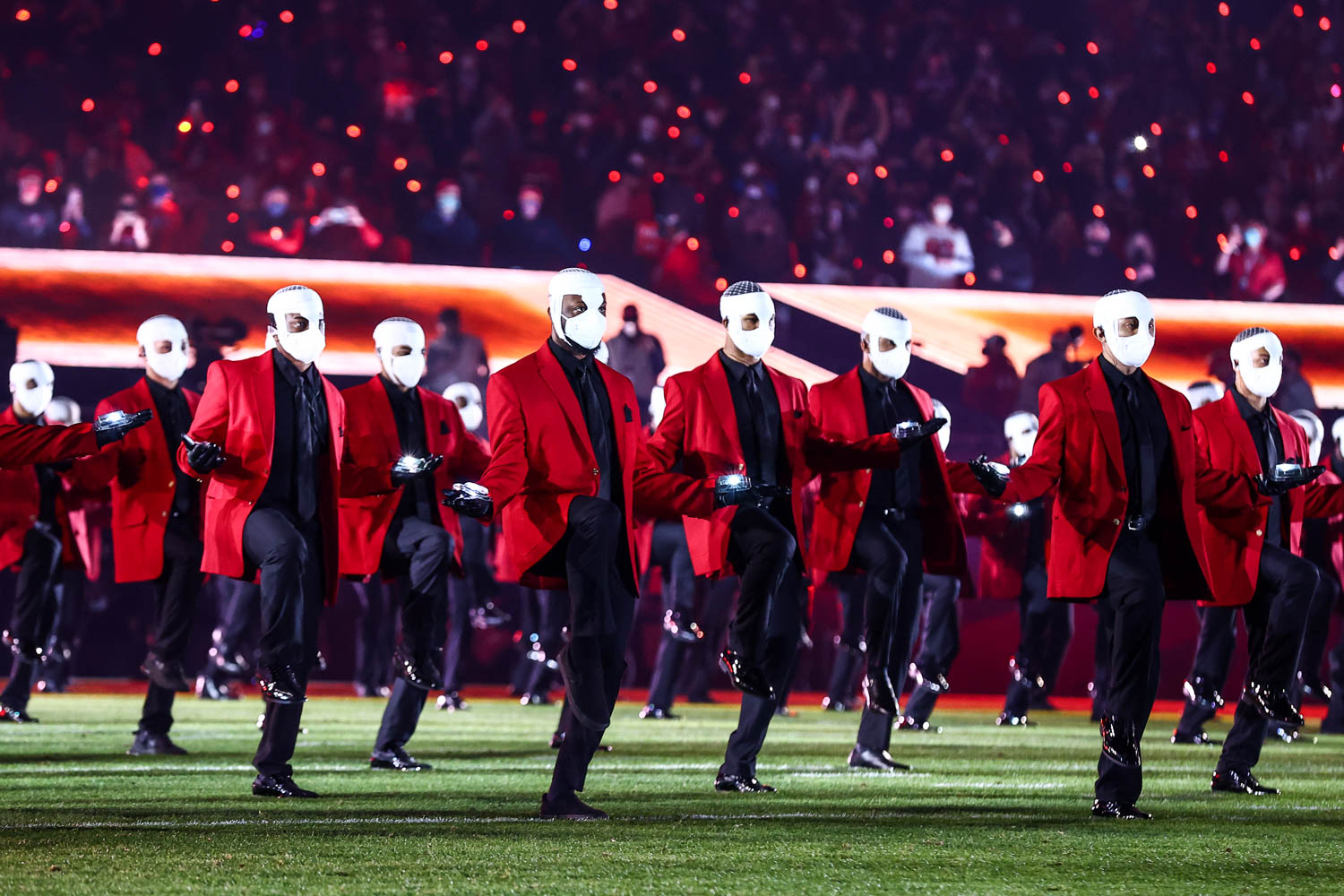 The Weeknd's dancers performing during the Pepsi Super Bowl LV Halftime Show, Sunday, Feb. 7, 2021 in Tampa.