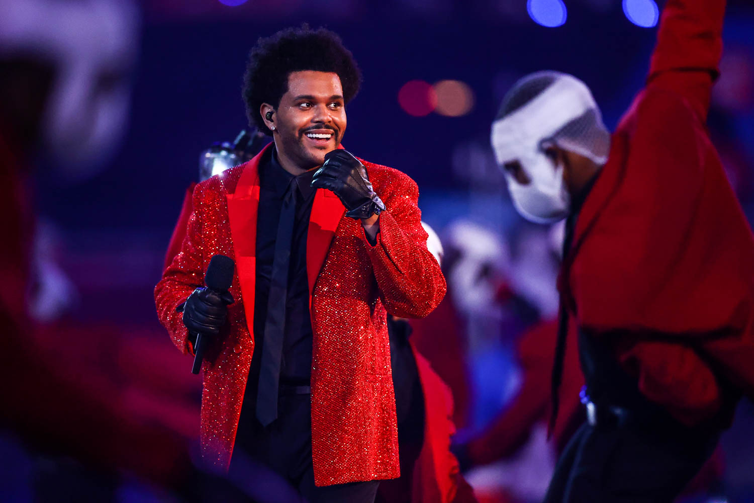The Weeknd performing during the Pepsi Super Bowl LV Halftime Show, Sunday, Feb. 7, 2021 in Tampa.