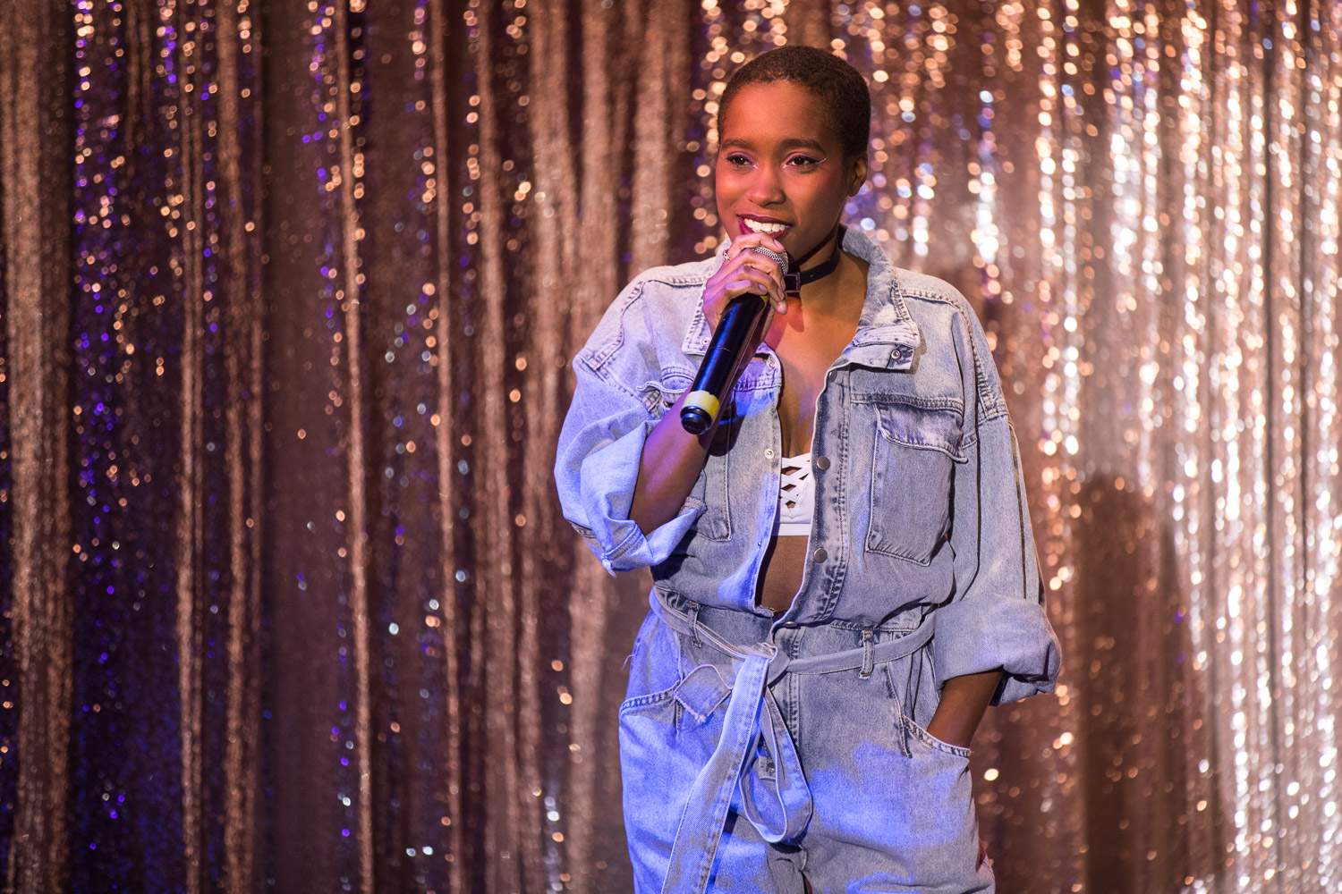 Comedian Ameerah Sanders during the Comedy Cabaret at Missie B's in Kansas City, MO on June 29, 2021