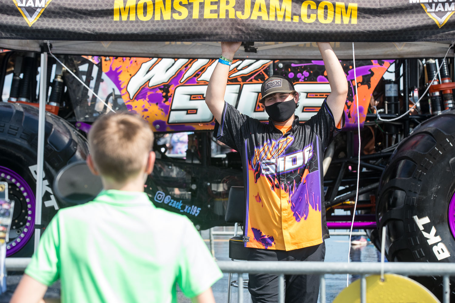 Zack Garner, driver of the Wild Side Wrecking Machine truck participates in a Q&A session with fans during the Monster Jam Pit Party prior to the main event at GEHA Field at Arrowhead on Saturday evening, June 26, 2021.