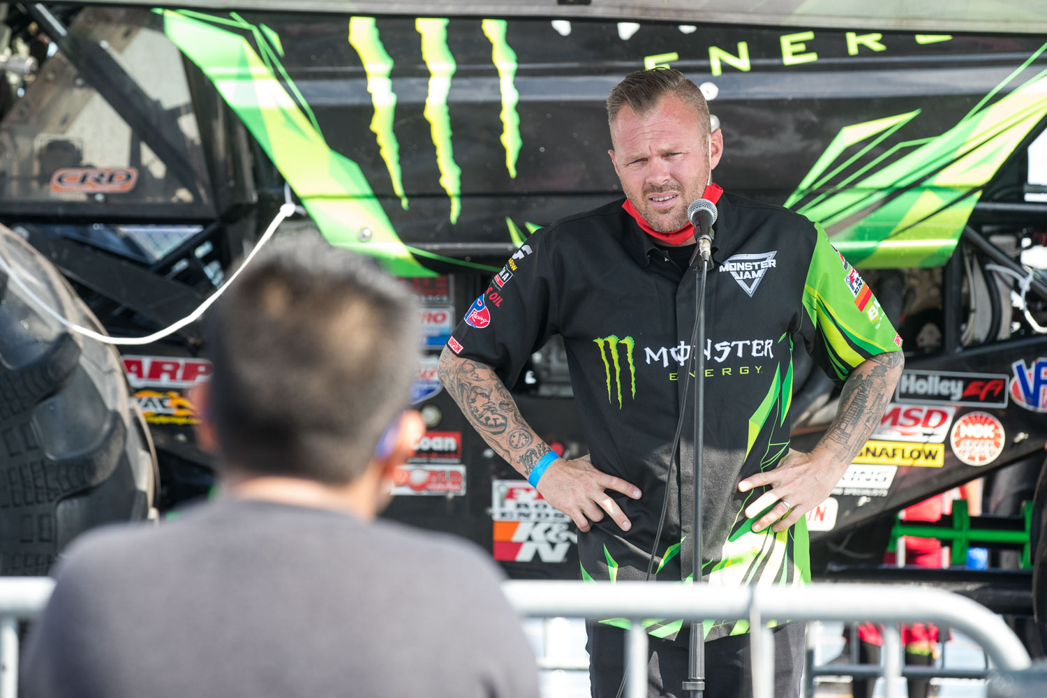 Todd LeDuc, driver of the Monster Energy truck participates in a Q&A session with fans during the Monster Jam Pit Party prior to the main event at GEHA Field at Arrowhead on Saturday evening, June 26, 2021.