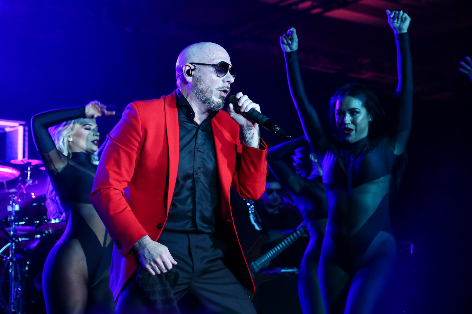 Pitbull performing at the Kansas City Chiefs Super Bowl LIV afterparty in Miami, Florida on February 3, 2021