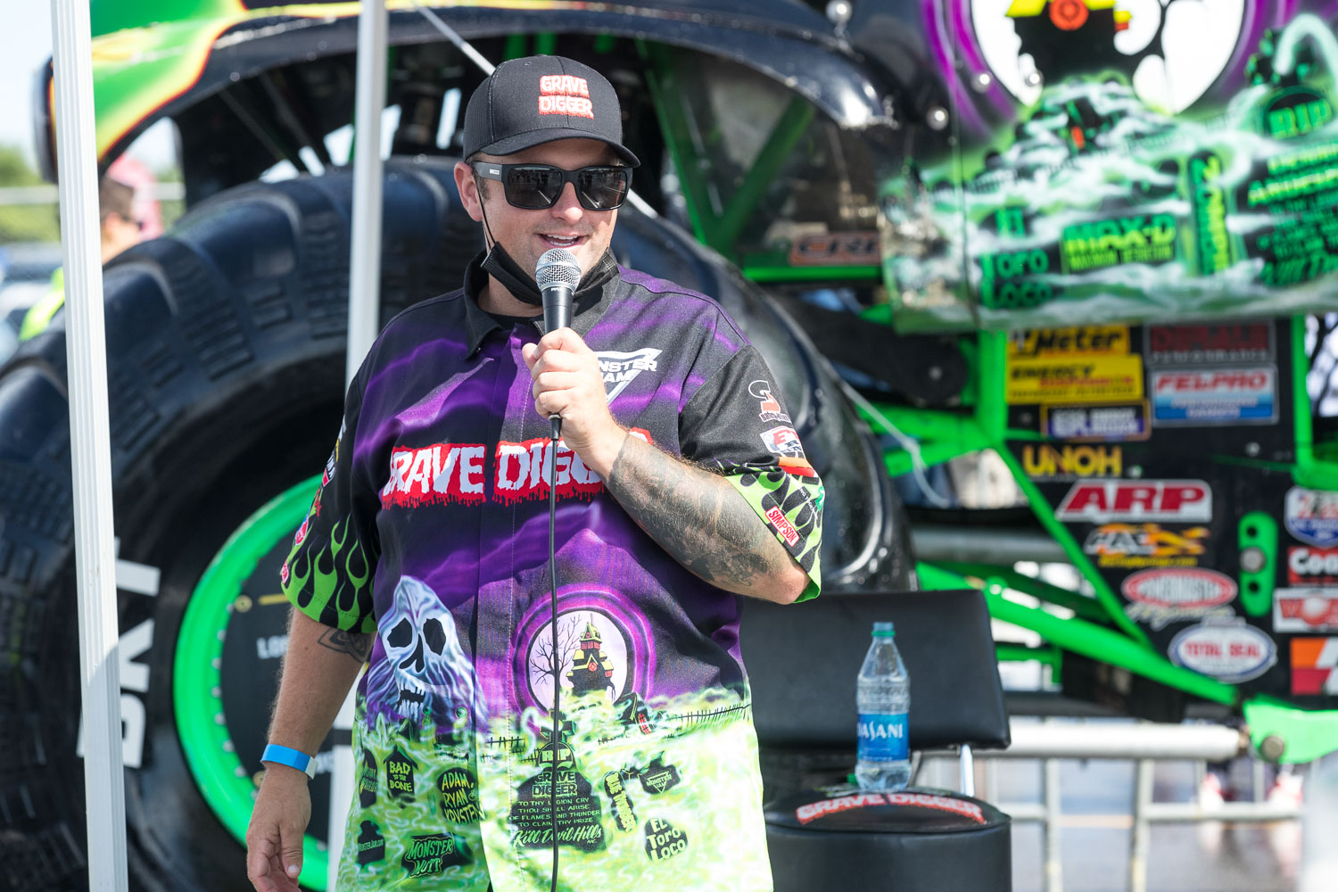 Adam Anderson, driver of the Gravedigger truck participates in a Q&A session during the Monster Jam Pit Party prior to the main event at GEHA Field at Arrowhead on Saturday evening, June 26, 2021.