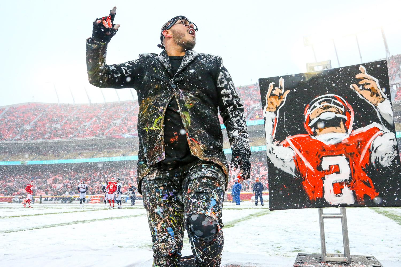 Speed painter David Garibaldi during the NFL football game between the Kansas City Chiefs and the Denver Broncos at Arrowhead Stadium on December 15, 2019