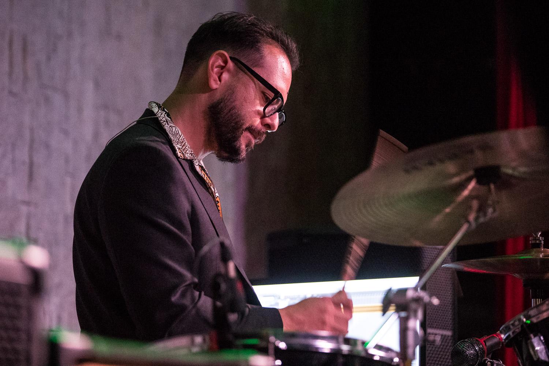 Mark Lomas, drummer of Various Blonde performing at the Record Bar in Kansas City, Missouri on July 15, 2021
