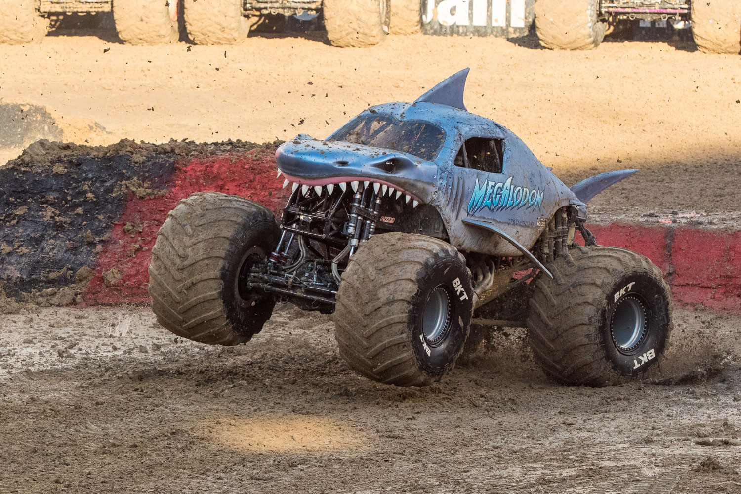 Megalodon, driven by Tristan England during Monster Jam at GEHA Field at Arrowhead on Saturday evening, June 26, 2021.