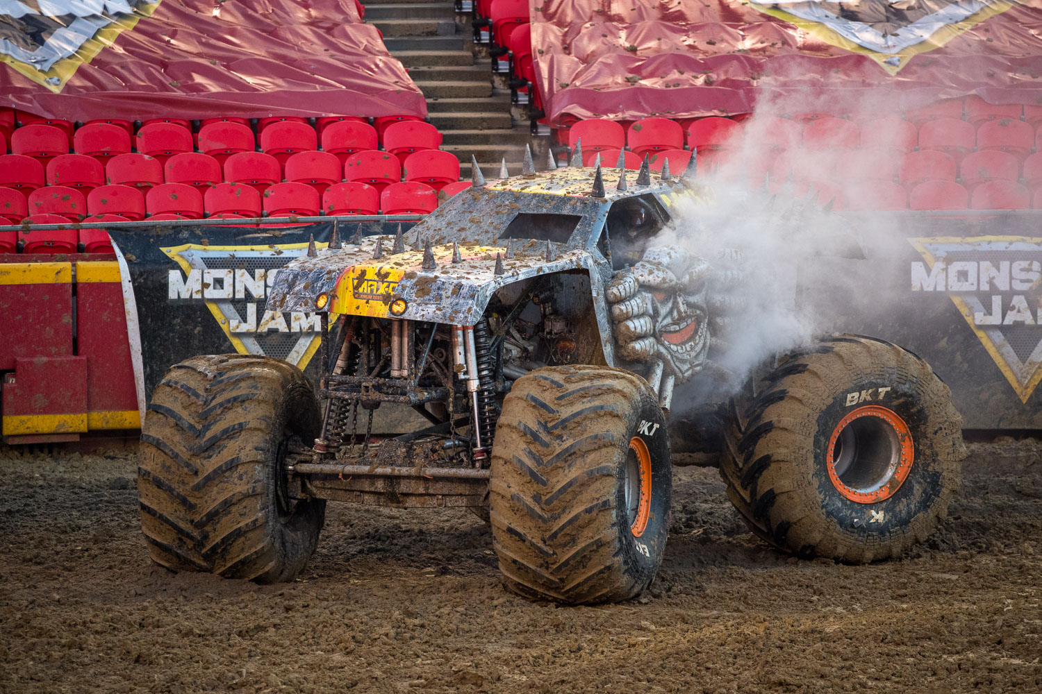 Maximum Destruction (Max-D), driven by Tom Meents during Monster Jam at GEHA Field at Arrowhead on Saturday evening, June 26, 2021.
