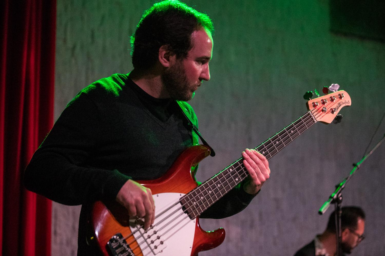 Jason Nash, bass guitarist of Various Blonde performing at the Record Bar in Kansas City, Missouri on July 15, 2021