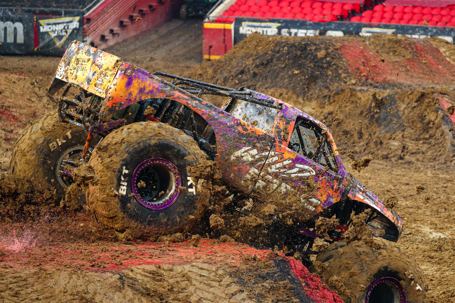 Wild Side Wrecking Machine, driven by Zack Garner during Monster Jam at GEHA Field at Arrowhead on Saturday evening, June 26, 2021.