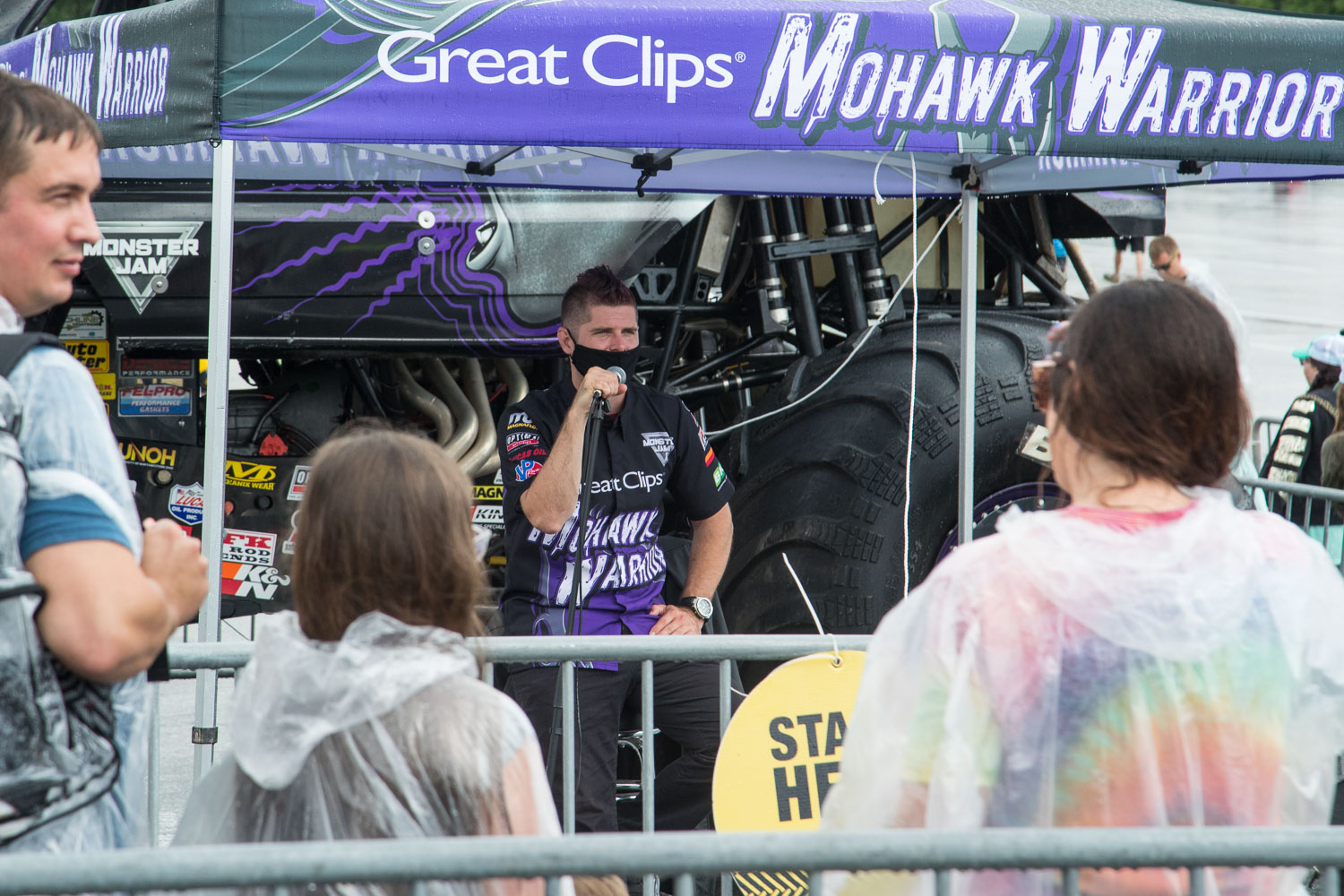 Fans participate in a Q&A session with Bryce Kenny, driver of the Great Clips Mohawk Warrior during the Monster Jam Pit Party prior to the main event at GEHA Field at Arrowhead on Saturday evening, June 26, 2021.