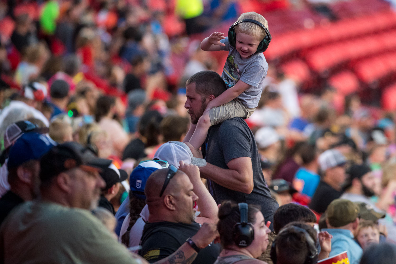 A young fan enjoying Monster Jam at GEHA Field at Arrowhead on Saturday evening, June 26, 2021.