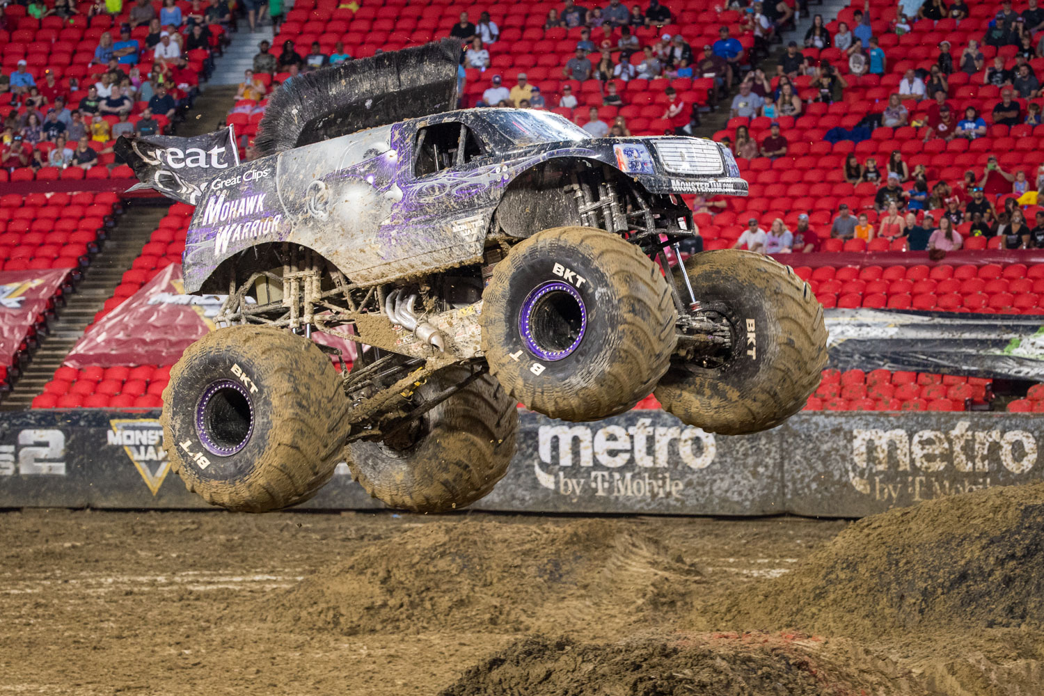 Great Clips Mohawk Warrior, driven by Bryce Kenny during Monster Jam at GEHA Field at Arrowhead on Saturday evening, June 26, 2021.