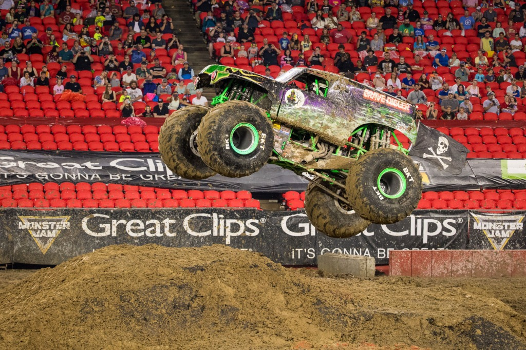 Gravedigger, driven by Adam Anderson during Monster Jam at GEHA Field at Arrowhead on Saturday evening, June 26, 2021.