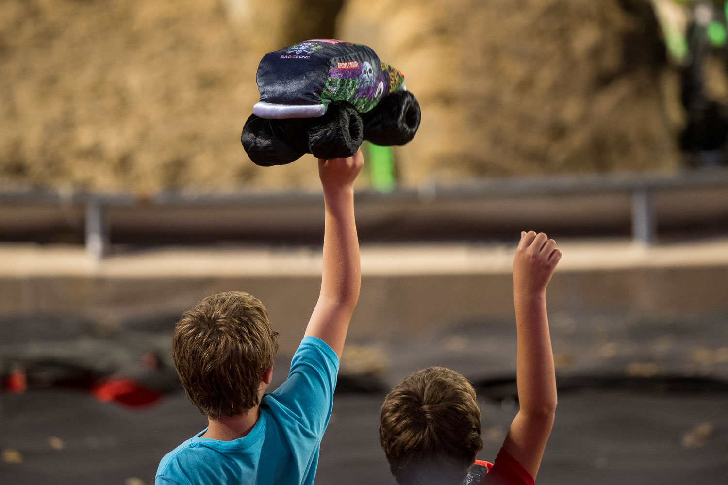 Young fans cheering during Monster Jam at GEHA Field at Arrowhead on Saturday evening, June 26, 2021.