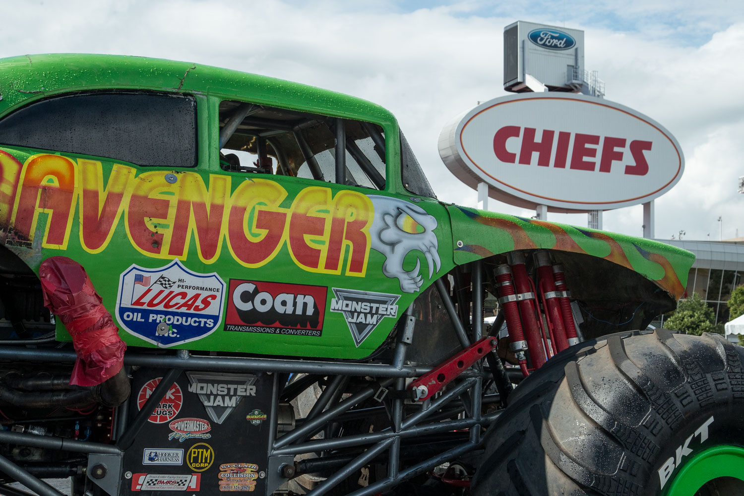The Avenger truck during the Monster Jam Pit Party prior to the main event at GEHA Field at Arrowhead on Saturday evening, June 26, 2021.