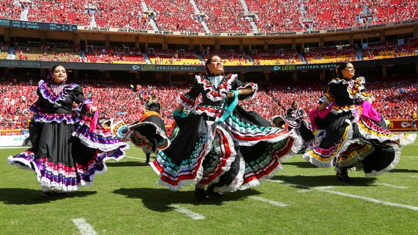 LatinX Heritage halftime show during an NFL football game against the Los Angeles Chargers, Sunday, September 26, 2021 in Kansas City.